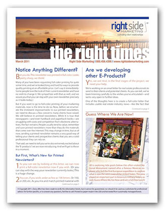 Company Newsletter the Right Times